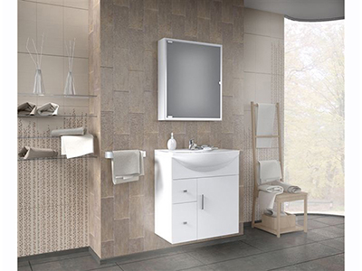 impala 65 suspended white vanity unit with porcelain sink and single door mirror unit