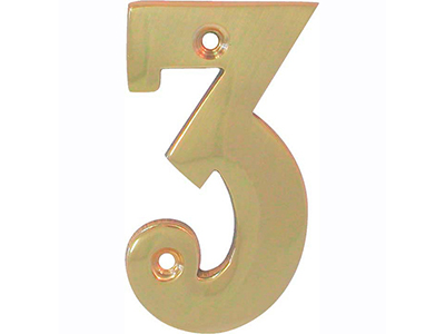 hardware-shelf-systems/door-numbers/polished-brass-number-3-house-number-65mm