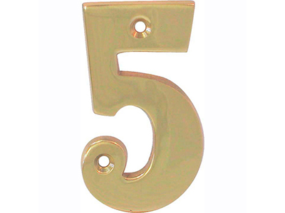 hardware-shelf-systems/door-numbers/polished-brass-number-5-house-number-65mm