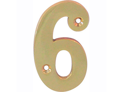 hardware-shelf-systems/door-numbers/polished-brass-number-6-house-number-65mm