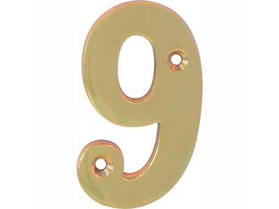 hardware-shelf-systems/door-numbers/polished-brass-number-9-house-number-65mm