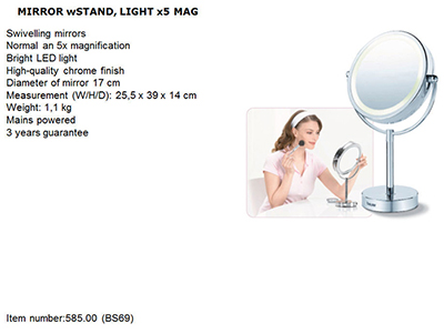 bathrooms/shaving-mirrors/beurer-illuminated-mirror-on-stand