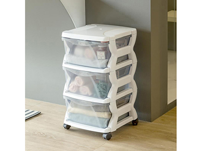 Plastic 3 Tier Drawer Cabinet With Wheels