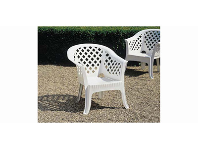 Outdoor Plastic Furniture Lario White Armchair With