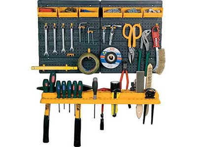 hand-tools/tool-boxes-storage-organisers/plastic-display-panel-with-6-containers-and-19-shelf-hooks