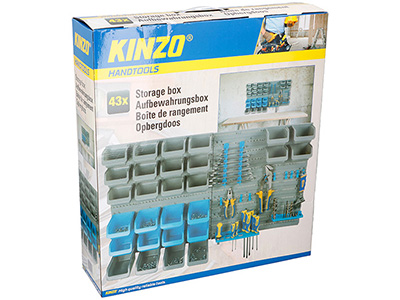 hand-tools/tool-boxes-storage-organisers/kinzo-wall-storage-box-43-slots-with-plastic-trays-and-hooks