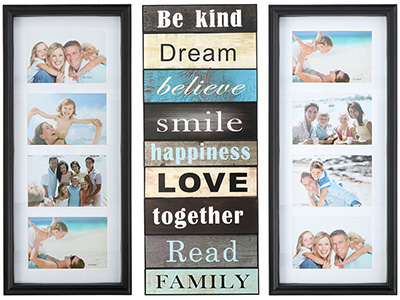 art-decor/wood-frames/collage-photo-frame-with-family-text-for-8-vertical-photos-on-a-white-background