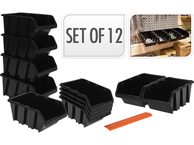 hand-tools/tool-boxes-storage-organisers/black-storage-bins-set-12-pieces-x-9-storage-boxes-x-3-orange-stripes