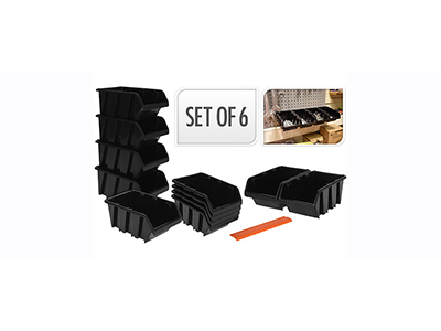 hand-tools/tool-boxes-storage-organisers/black-storage-bins-set-6-pieces-x-4-storage-boxes-x-2-orange-stripes
